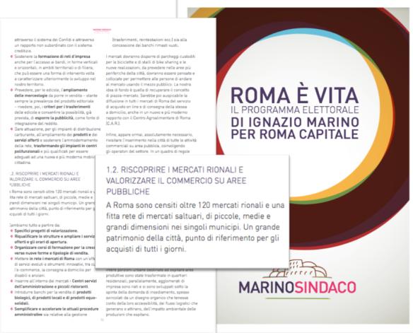 Programma Ignazio Marino Mercati rionali